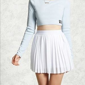 Pleated mesh mini skirt